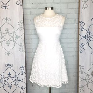 Calvin Klein White Lace Fit & Flare Dress Size 4
